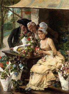 Antonio Lonza (1846-1918) The flower seller