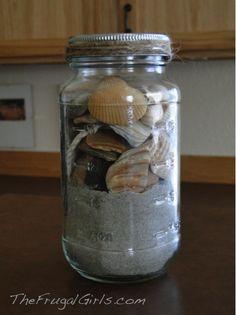 A Simple Summer Souvenir! {beach in a jar!} ~ from TheFrugalGirls.com #mason #jars