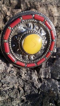 Koraal en 925 zilver ring (1 maat 21.5 mm & 1 maat 20 mm)