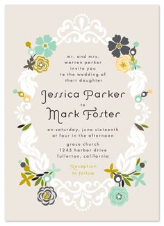 Floral ampersand wedding invitation design by minted artist hanna wedding invitations floral frame at minted stopboris Images