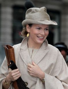 Princess Mathilde of Belgium in a relaxed fedora with double side pinches on King's Day, November 15, 2010