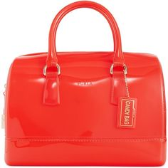 Furla Candy Bauletto Satchel ($208) ❤ liked on Polyvore featuring bags, handbags, satchel bag, red purse, furla purses, jelly handbags and furla