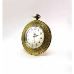 Linden Round Brass Alarm Clock Leaf or Feather Motif Made in Germany... (€17) ❤ liked on Polyvore featuring home, home decor, clocks, brass clock, brass alarm clock, brass home accessories, brass home decor and leaf home decor