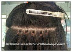 Extensiones de cabello con grapas...