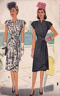 McCall' 6440; ©1946; Wrap around dress. So Vintage Patterns.Com Bust 40