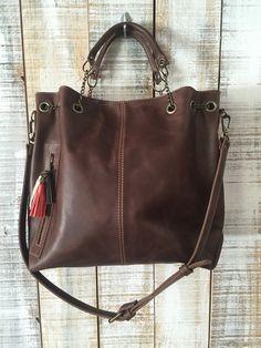 Leather bag Oversize crossbody bag Women purse ready por Percibal