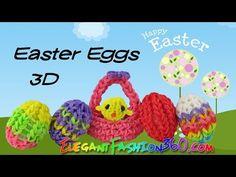 Rainbow Loom Easter Eggs 3D Charm - How to Loom Bands - YouTube