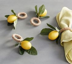 Lemon Vine Napkin Rings, Set of 4 For a playful note to a summer table setting, add the bright colors of summer fruit. Pair the Lemon Napkin Rings with our matching dinnerware or linens for a coordinated look. Wood Napkin Holder, Lemon Kitchen, Custom Napkins, Graduation Party Decor, Crate And Barrel, Napkin Rings, Tablescapes, Decoration, Virginia