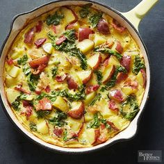 This frittata, packed with superfood kale and hearty potatoes, is a winner. And we can't forget about the real superstar here: bacon. Do breakfast (or dinner!) right with this delicious bake.