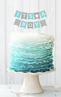 Boy Baby Shower Cake Topper Decorations announcing Its a Boy are sure to sweeten up your blue baby shower cake! Cake bunting decorations are the perfect