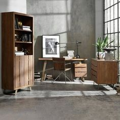 Solid Wood Four Piece Office Set #midcentury #midcenturymodern #officeinspo | National Business Furniture