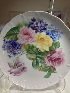 Rose by matilda Antique Dishes, Vintage Dishes, China Painting, Ceramic Painting, Plates And Bowls, Plates On Wall, Hand Painted Plates, Decorative Plates, Fancy Dishes