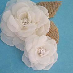 Rustic burlap Bridal hair flower set Ivory Organza by HARTfeltart, $36.50
