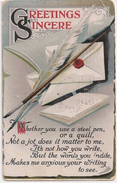 Quill Pen Greetings 1910 Antique Postcard