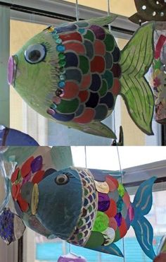 Craft Ideas Using Plastic Bottles soda bottle fish- rainbow fish ideasoda bottle fish- rainbow fish idea Ocean Crafts, Fish Crafts, Projects For Kids, Art Projects, Sculpture Projects, Arte Elemental, Plastic Bottle Crafts, Plastic Bottles, Pop Bottle Crafts