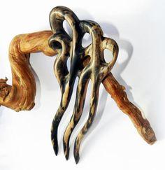 Заколка для волос из дерева Пантера от OakForestwoodwork на Etsy