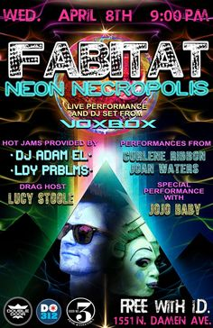Door No. 3 Presents... FABITAT: Neon Necropolis with Voxbox * DJ Adam El * LDY PRBLMS * Lucy Stoole * Curlene Ribbon * Jojo Baby  Wed, Apr 8   9pm   FREE SHOW   This show is 21+ w/ photo id   http://doubledoor.com/events/fabitat-strange-brew/
