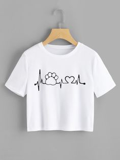 Casual Regular Fit Round Neck Short Sleeve Pullovers White Crop Length Graphic Printed Crop Tee - Graphic Shirts - Ideas of Graphic Shirts - Teen Fashion Outfits, Trendy Outfits, Kids Outfits, Summer Outfits, Cute Outfits, Ootd Fashion, Fashion Art, Summer Dresses, Shirt Designs