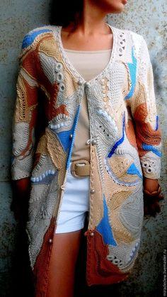 Верхняя одежда ручной работы. Ярмарка Мастеров - ручная работа. Купить Вязаный крючком кардиган в  стиле фриформ. Handmade. Комбинированный
