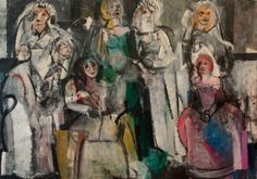 Grace Hartigan, Grand Street Brides, Oil on canvas, 72 × 102 in. Whitney Museum of American Art, New York; gift of an anonymous donor Art Folder, Joan Mitchell, Whitney Museum, Helen Frankenthaler, Portrait Art, Portraits, Figure Painting, Figure Drawing, Abstract Expressionism
