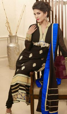 Black Sunny Leone Faux Georgette Long Churidar Suit Price: Usa Dollar $111, British UK Pound £65, Euro82, Canada CA$121 , Indian Rs5994.