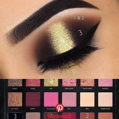 EYES: Textured Rose Gold Palette in shades Sandalwood Henna and Coco Eyeshadow in Noir Sundipped Glow kit in Summer under the brow Huda Beauty Rose Gold Palette, Huda Beauty Eyeshadow, Huda Beauty Makeup, Beauty Make-up, Huda Palette, Golden Eyeshadow, Eye Makeup Steps, Makeup Eye Looks, Smokey Eye Makeup