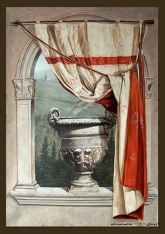 trompe l' oeil mural. Old castle window view. Faux Painting, Mural Painting, Paintings, Belgian Pearls, Wall Murals, Wall Art, Murals Street Art, Painter Artist, Grisaille