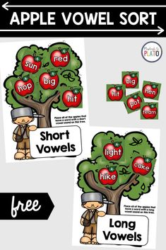 This playful, apple-themed short and long vowel sort is a must-try! Kids will love reading and sorting words by long and short vowels! Perfect for kindergarten and first grade and they make fun and engaging literacy center activities! Apple Activities, Sorting Activities, Learning Activities, Sound Words, Cvc Words, Activity Centers, Literacy Centers, Playdough To Plato, Short Vowels