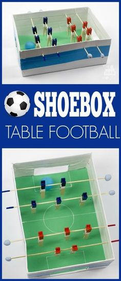 Shoebox table football game.  This simple foosball game is perfect for kids and it is made from a shoebox