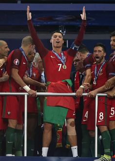 #EURO2016 Cristiano Ronaldo of Portugal celebrates before receiving the trophy following the UEFA Euro 2016 Final match between Portugal and France at Stade de...