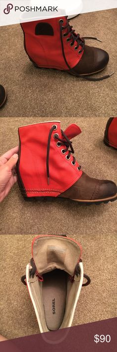 Sorel 1964 brown and red wedges Very cute and comfortable authentic Sorel wedges. They are in used condition but they are very good and still have a lot of life on them. I do not have the original box. Sorel Shoes Ankle Boots & Booties