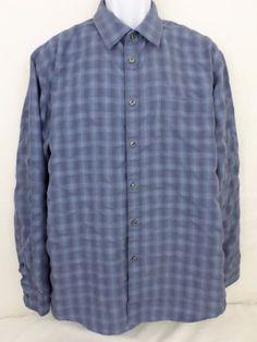 Van Heusen Plaid Blue Long Sleeve XL Egypt Polyester Rayon Blend Shirt #VanHeusen #ButtonFront