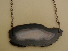 Handmade Large Agate Stone with Copper tone Chain