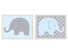 Elephant Nursery Wall Art - Light Blue Gray Decor  - Children Kid Boy Baby Room - Home Decor Set 2 8x10 Print on Etsy, $30.00