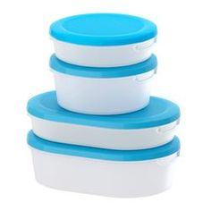 JÄMKA Food container with lid, set of 4, transparent white, blue - IKEA