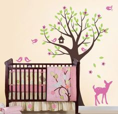 Tree with Birds and Fawn Decal Set - Kid's Nursery Room Wall Decal Sticker. $84.00, via Etsy.