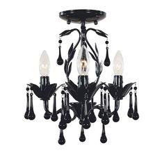 Model 4053-23: Bijoux Three-Light Convertible Ceiling Mount Fixture - Glossy Black