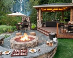 Outdoor, Flagstone Patio Ideas On A Budget With Unique Round Fire Pit For Impressive Patio Ideas On A Budget With Outdoor Living Space And Stylish Stone Fireplace: Frugal Patio Ideas with Fire Pit on a Budget