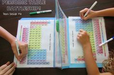 This Periodic Table Battleship Game includes 4 laminated copies of the periodic table, 2 file folders and jumbo paperclip to hold it all together. It also includes a sheet of rules explaining the game. For more instructions, images and a video, see http://teachbesideme.com/periodic-table-battleship/