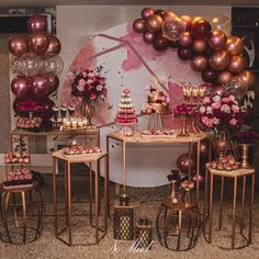 21st Birthday Decorations, Bridal Shower Decorations, Balloon Decorations, Wedding Decorations, Gold Birthday Party, 18th Birthday Party, Decor Ideas, Sweet Fifteen, Rustic Anniversary Party