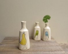 Yellow bird vase bird vase small bird flower by catherinereece