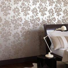 Kelly Hoppen Gold/taupe Rose wallpaper- at Debenhams.com