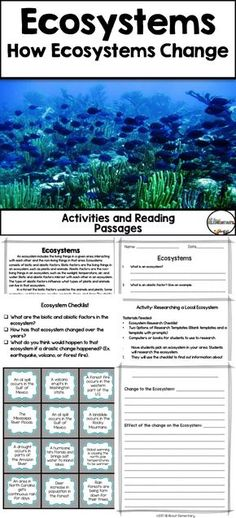 The following items are included: *Reading Passage with three activities *Researching a local ecosystem *The Lorax Activity *Ecosystem Changes Activity *Read Aloud Book List and Exit Ticket *Vocabulary Cards *Assessment