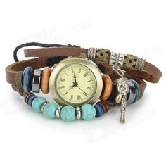 Retro Leather Band Style Fashion Women's Analog Quartz Wrist Watch - Brown (1 x 377) From 19,= for Euro 4.05