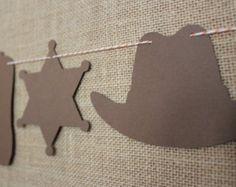 Cowboy Garland // Cowboy Hat, Sheriff Badge, Cowboy Boot // Pick Your Colors