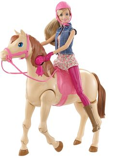 Barbie Saddle 'N Ride Horse.Ride off into adventure with this Barbie doll and horse set that really gets things moving! With simple setup and activation, Barbie doll swings up onto her horse and begins to ride in one swift motion! Mattel Barbie, Barbie Dolls, Mattel Shop, Toys R Us, Kids Toys, Christmas Toys, Christmas 2015, Gants Roses, Hot Wheels