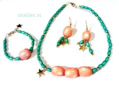 #Collar, #pendientes y #pulsera. #Collar, #earrings and #bracelet www.facebook.com/atelier51.Plasencia www.atelier51handmade.com