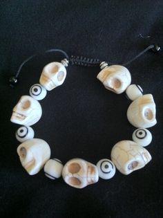 sugar skull & evil eye bracelet
