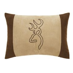 Browning Buckmark Suede Oblong Pillow Tan with Brown Edges