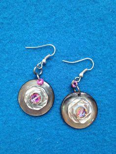 Luminous Shell Button Earring, Iridescent Layered Shell Button Earring, Simple and Elegant Shell Button Earrings, Iridescent Shell Earrings by CatterflyStudios on Etsy